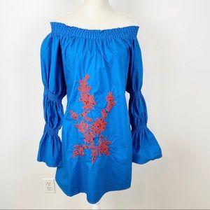 Velzera Embroidered Off Shoulder Gathered Sleeve B